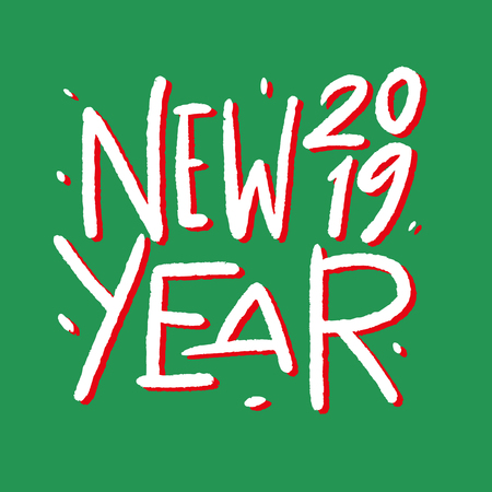 Happy New Year 2019. Holiday Vector Illustration Lettering Composition. Modern brush calligraphy. Isolated on background Çizim