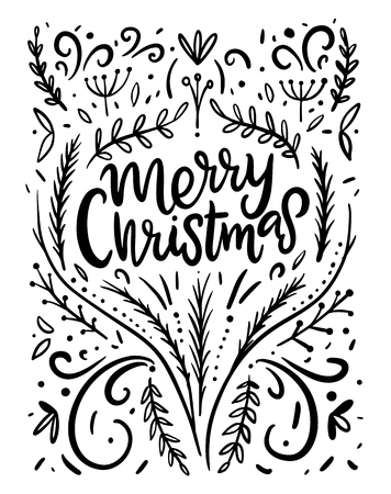Merry Christmas hand drawn vector lettering composition. Calligraphy text for greeting cards isolated on background.