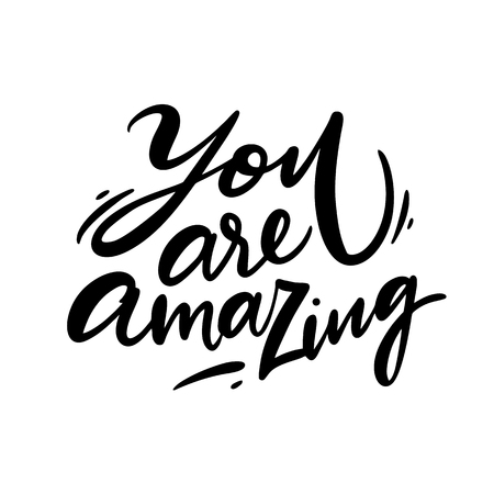 You are amazing text lettering. Handwritten modern calligraphy isolated on white background. Valentine Greeting Card with heart. Illusztráció
