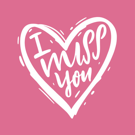 I miss you vector lettering text. Modern brush calligraphy. Valentine Greeting Card with heart 向量圖像