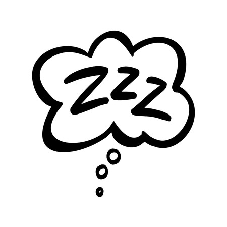 Sleep comic bubble zzz. Sleeping bubble icon hand drawn vector Lettering isolated on white background.