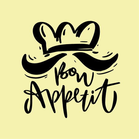Bon Appetit hand drawn vector lettering. Vector illustration sketch. Isolated on background. EPS 8