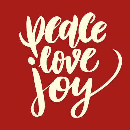Peace Love Joy phrase Merry Christmas vintage quote. Vector lettering.