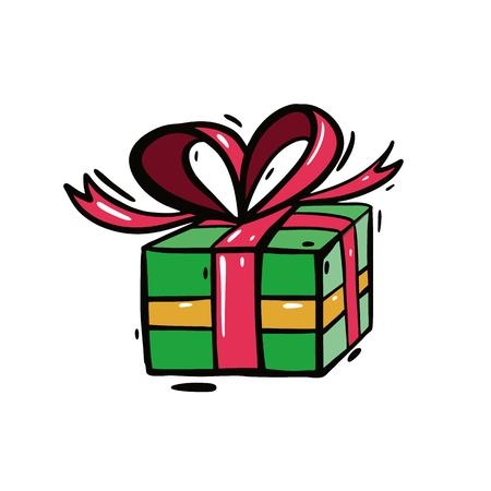 Christmas gift box vector illustration. Isolated on white background. EPS 8