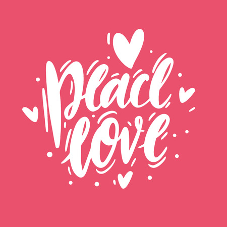 Peace Love phrase text. Hand drawn vector lettering. Black ink isolated on pink background.