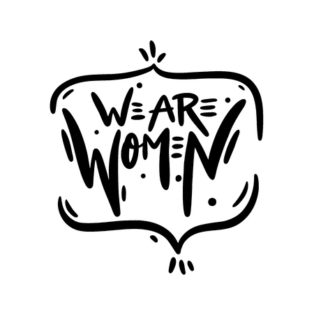 Woman Rights hand drawn vector lettering. Isolated on white background. Motivation quote. Feminism slogan. vector illustration.