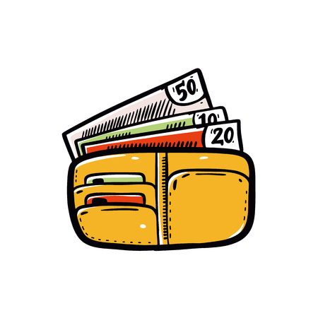 Cartoon wallet and money. Business and finance vector illustration. Isolate on white background.