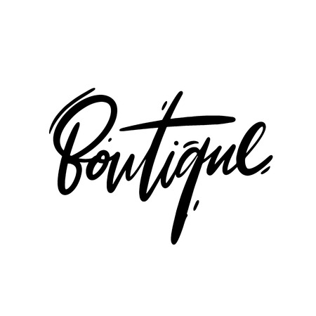 Boutique hand drawn vector lettering. Isolated on white background.