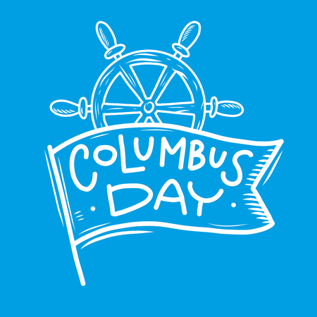 Happy Columbus Day hand drawn vector lettering. Vector illustration on blue background.