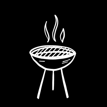BBQ grill hand drawn cartoon icon vector illustration. Isolated on black background.