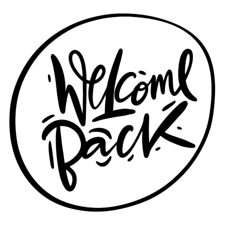 Welcome Back vector lettering. Hand drawn modern calligraphy brush. Isolated on white background.