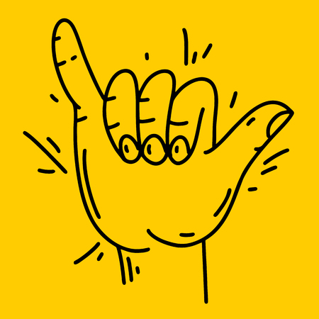 Vector surfer's hand sign. Aloha sing. Hand drawn vector illustration. Isolated on yellow background. Illustration