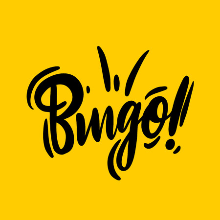 Bingo phrase hand drawn vector lettering. Vector illustration isolated on yellow background. EPS 8