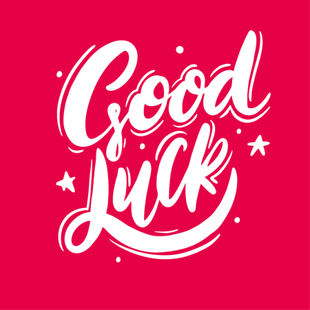 Good Luck hand drawn vector lettering. Isolated on pink background. Vector illustration.