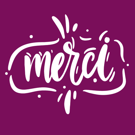 Merci logo hand drawn vector lettering. Vector illustration sketch. Isolated on violet background.
