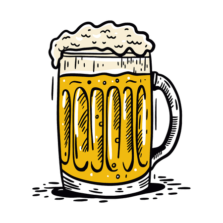 Glass with beer. Hand drawn vector engraving illustration. Cartoon style. Isolated on white background. Иллюстрация