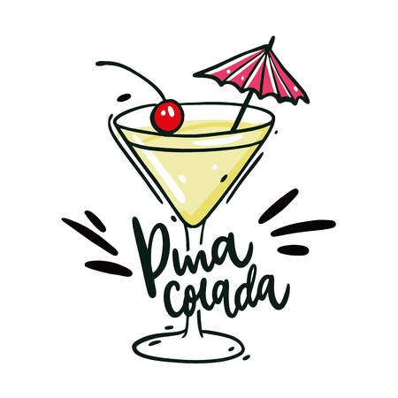 Pina Colada hand drawn vector illustration and lettering. Isolated on white background. Vectores