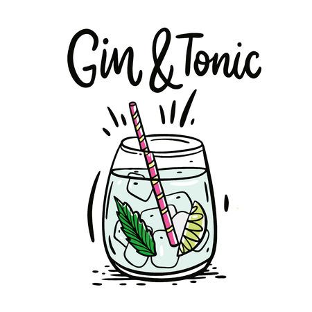 Cóctel clásico Gin-tonic. Ilustración de vector dibujado a mano y letras. Aislado sobre fondo blanco.