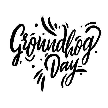 Happy Groundhog Day hand drawn vector illustration and lettering. Advertising Poster or Flyer Template. Isolated on white background. Illustration