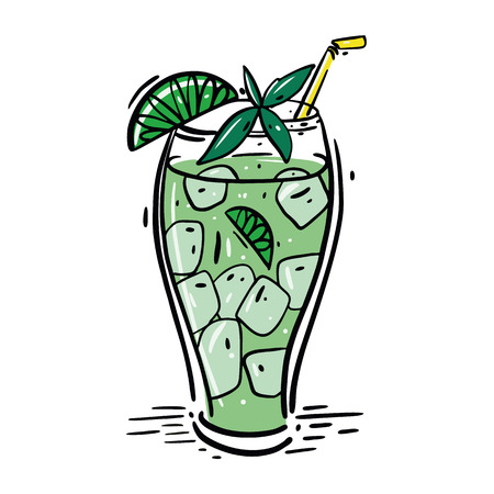 Cocktail Mojito hand drawn vector illustration and lettering. Vector cocktail illustration isolated on white background.