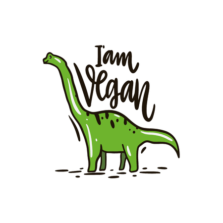 Dinosaur Diplodocus hand drawn vector illustration. I'am vegan lettering. Cartoon style. Isolated on white background.