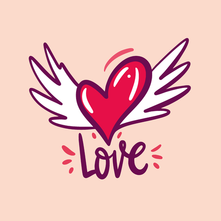 Heart with wings. Love symbol. Hand drawn vector illustration and Love phrase lettering. Cartoon style. 向量圖像