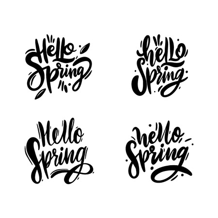 Hello Spring phrase hand drawn vector lettering. Isolated on white background. Vector illustration. Design for decor, cards, print, web, poster, banner, t-shirt.