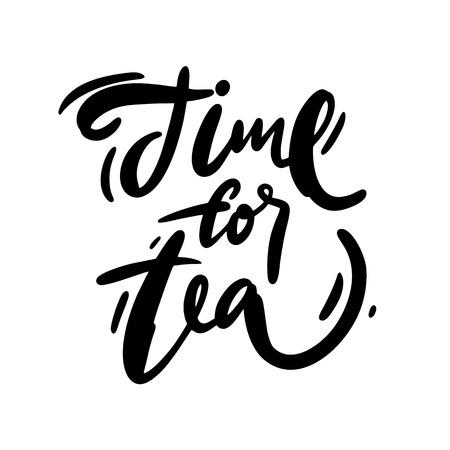 Time for tea logo hand drawn vector lettering. Modern brush calligraphy.