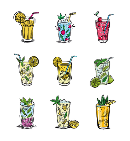 Summer set with lemonade. Hand drawn vector illustration is sketch style. Isolated on white background. Design for menu ,posters, brochures for cafe, bar.