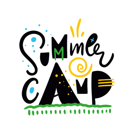 Summer Camp. Hand drawn vector lettering. Summer quote. Isolated on white background. Design for holiday greeting cards, logo, sticker, banner, poster, print Stock Vector - 124993962