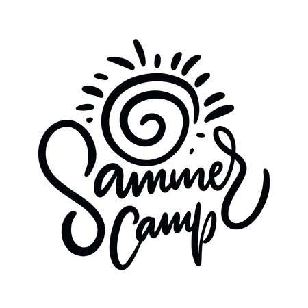 Summer Camp. Hand drawn vector lettering. Summer quote. Isolated on white background. Design for holiday greeting cards, logo, sticker, banner, poster, print