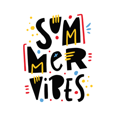 Summer Vibes phrase. Hand drawn vector lettering. Summer quote. Isolated on white background. Design for holiday greeting cards, logo, sticker, banner, poster, print