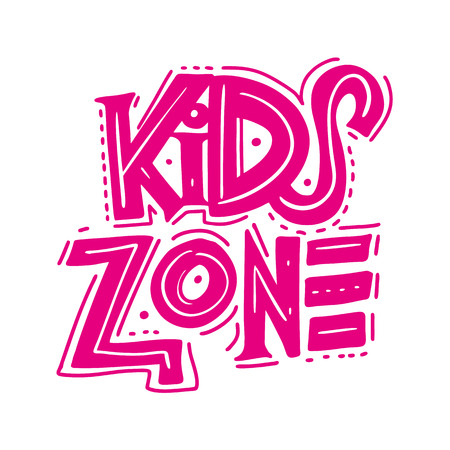 Kids zone sign. Hand drawn vector lettering. Modern brush calligraphy.