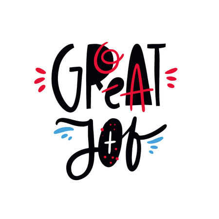 Great Job phrase. Hand drawn vector lettering quote. Isolated on white background. Design for holiday greeting cards, logo, sticker, banner, poster, print. Ilustração