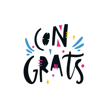 Congrats phrase. Hand drawn vector lettering quote. Isolated on white background. Design for holiday greeting cards, logo, sticker, banner, poster, print.