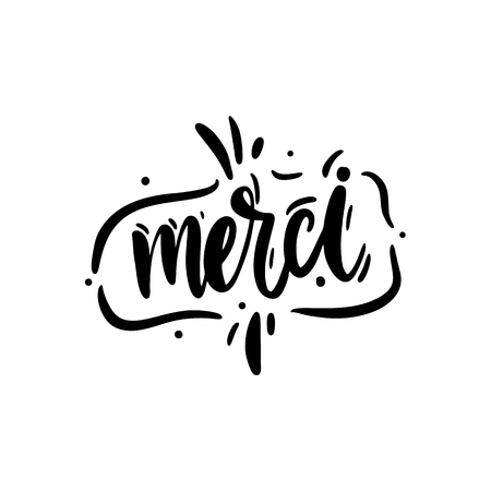 Merci logo hand drawn vector lettering. Vector illustration sketch. Illustration