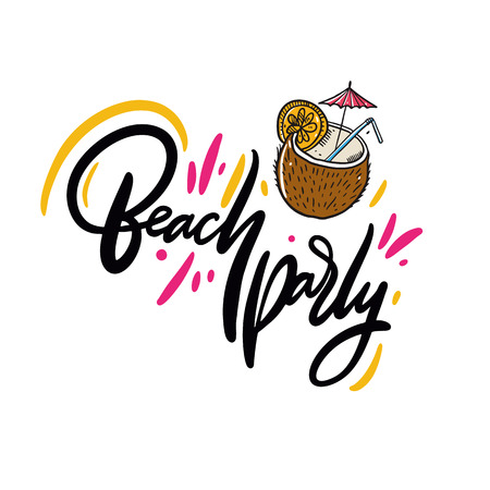 Beach Party phrase. Hand drawn vector lettering. Summer quote. Isolated on white background. Design for holiday greeting cards, logo, sticker, banner, poster, print. Illustration