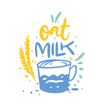 Oat Milk hand drawn vector illustration and lettering. Cartoon style. Isolated on white background. Design for holiday greeting cards, logo, sticker, banner, poster, print. Illustration