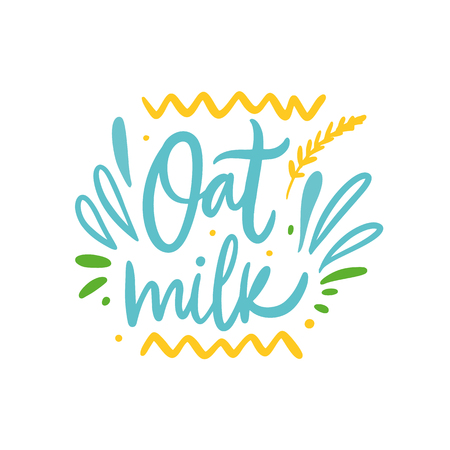Oat Milk hand drawn vector illustration and lettering. Cartoon style. Isolated on white background. Design for holiday greeting cards, logo, sticker, banner, poster, print. Иллюстрация