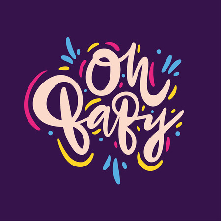 Oh, Baby quote. Hand drawn vector lettering. Isolated on violet background. Design for poster, greeting card, photo album, banner. Vector illustration Иллюстрация