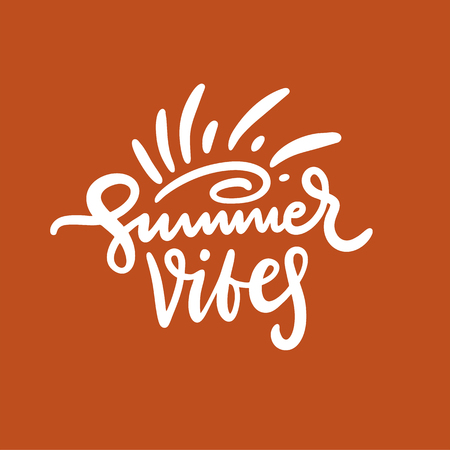 Summer Vibes phrase. Hand drawn vector lettering. Summer quote. Isolated on red background. Design for holiday greeting cards, logo, sticker, banner, poster, print Stok Fotoğraf - 124771367