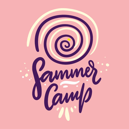 Summer Camp. Hand drawn vector lettering. Summer quote. Isolated on pink background. Design for holiday greeting cards, logo, sticker, banner, poster, print