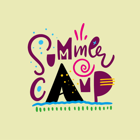 Summer Camp. Hand drawn vector lettering. Summer quote. Isolated on yellow background. Design for holiday greeting cards, logo, sticker, banner, poster, print