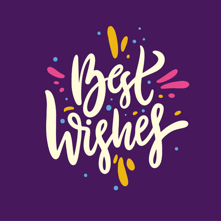 Best wishes phrase. Hand drawn vector lettering. Summer quote. Isolated on violet background. Design for holiday greeting cards, logo, sticker, banner, poster, print. Banque d'images - 124771375