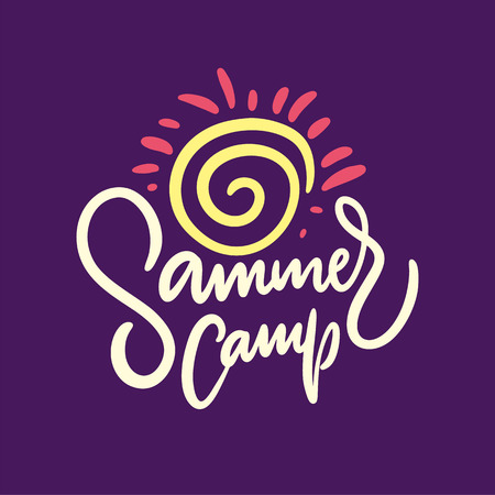 Summer Camp. Hand drawn vector lettering. Summer quote. Isolated on violet background. Design for holiday greeting cards, logo, sticker, banner, poster, print