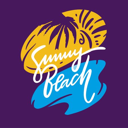 Sunny Beach phrase. Hand drawn vector lettering. Summer quote. Isolated on violet background. Design for holiday greeting cards, logo, sticker, banner, poster, print.