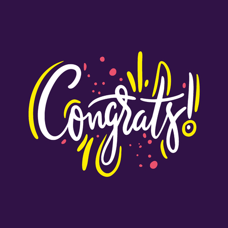 Congrats phrase. Hand drawn vector lettering quote. Isolated on violet background. Design for holiday greeting cards, logo, sticker, banner, poster, print. Çizim