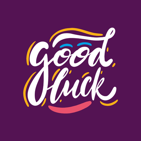 Good Luck hand drawn vector lettering. Isolated on purple background. Vector illustration. Design for holiday greeting cards, logo, sticker, banner, poster, print Banque d'images - 124750218