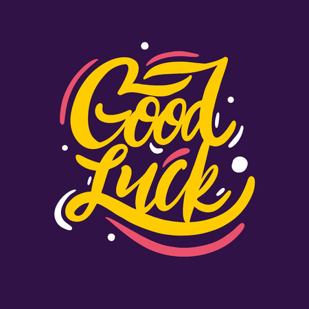 Good Luck hand drawn vector lettering. Isolated on violet background. Vector illustration. Design for holiday greeting cards, logo, sticker, banner, poster, print Banque d'images - 124750219