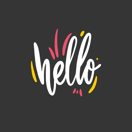 Hello phrase hand drawn vector lettering. Vector illustration isolated on black background. Ilustração